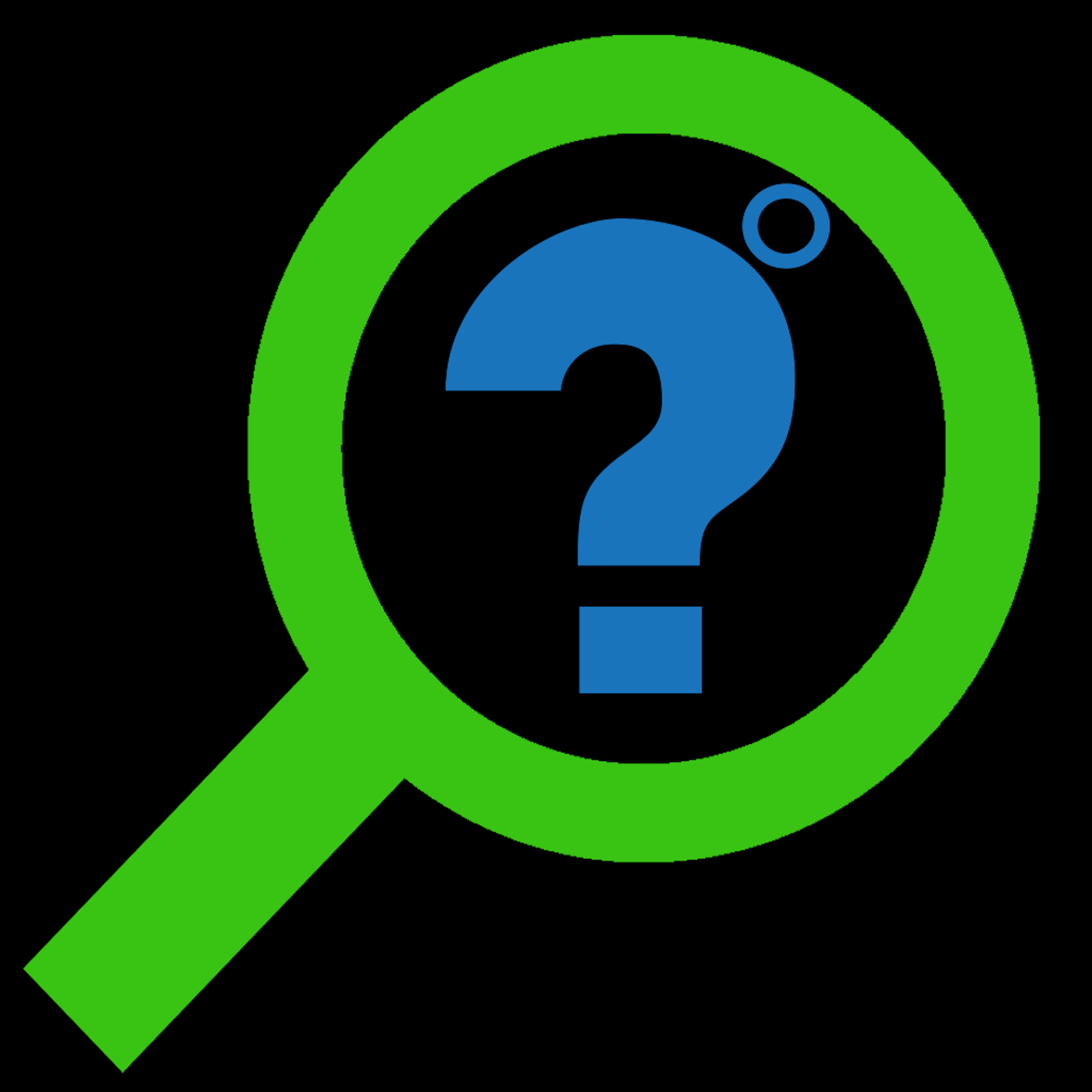 Urbanbyte Fixture Finder Logo blue green on black background with a questions mark inside a magnifiying glass with a degree symbol