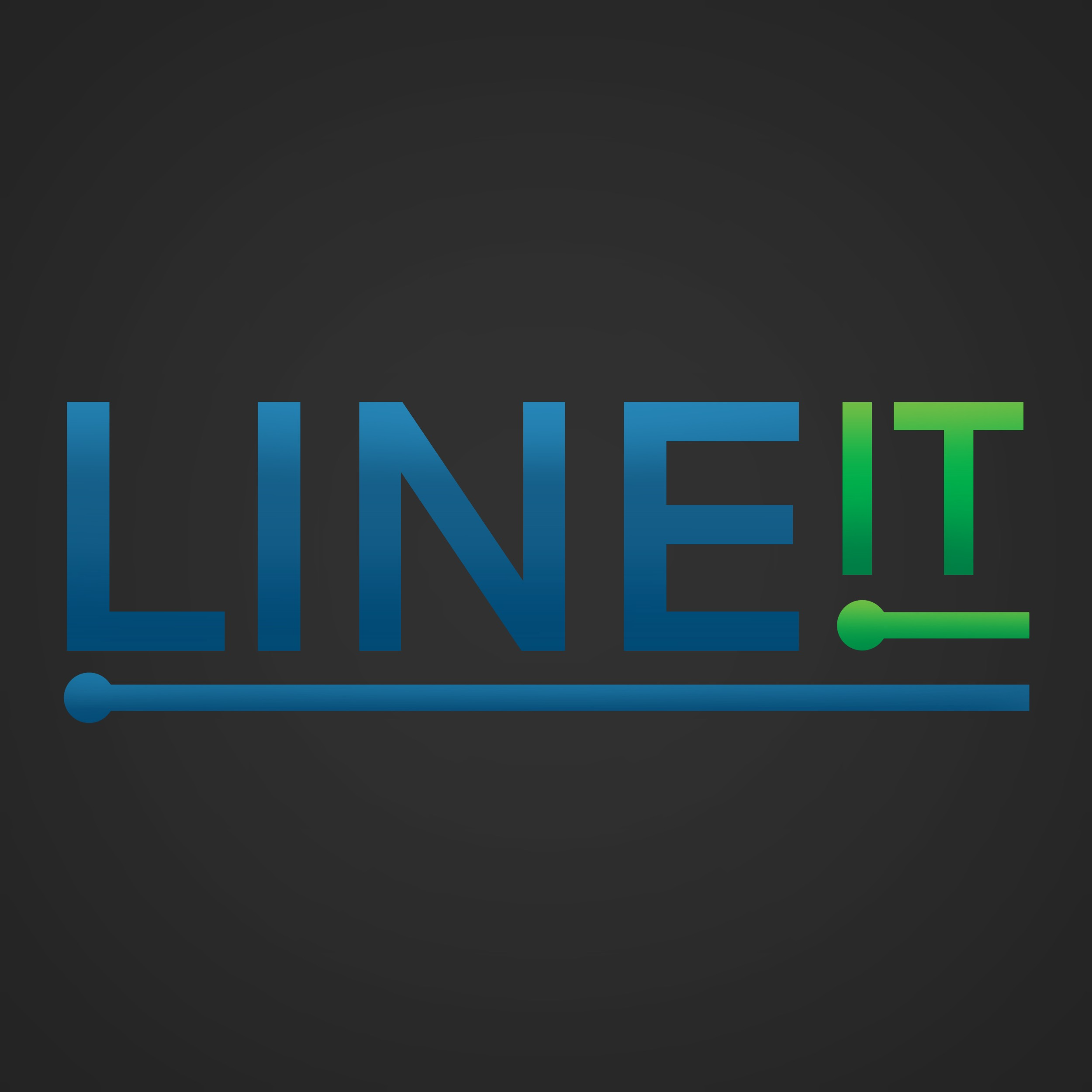 Urbanbyte Line It Logo blue green with words Line It and a prompt script line underneath words